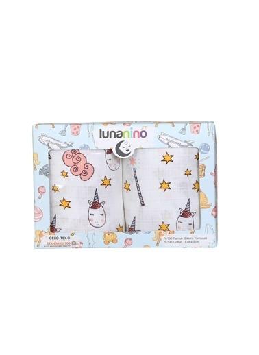 Lunanino Müslin Bebek Bezi 2 Farklı Ebat Tek Kutuda Unicorn Beyaz